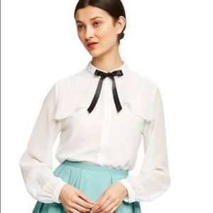 Long Sleeve Collared Ribbon Detail Blouse- new